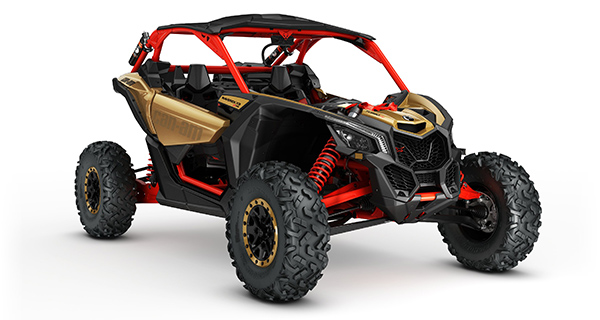 2017 Maverick X3 X rs TURBO R Gold and Can Am Red 3 4 front